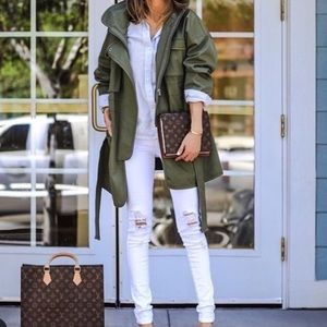 Trench coat style long olive jacket zippered