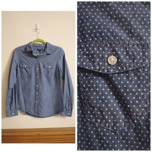 Blue Chambray White Polka Dot Old Navy Button Down