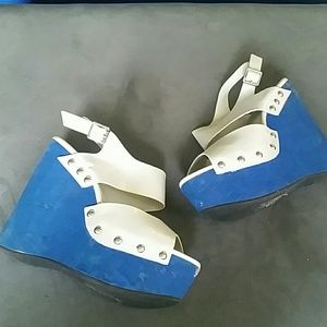 Cobalt blue and grey wedges