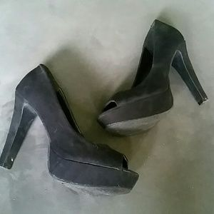 Shoes - Black peeptoe heels