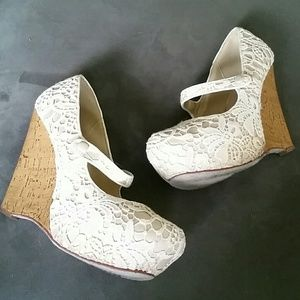 Lace and cork wedges