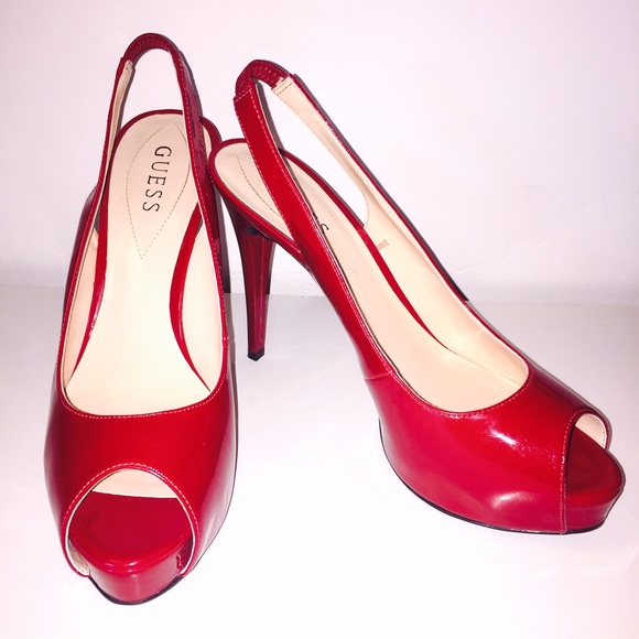Guess Shoes - RED, PEEP-TOE PUMPS BY GUESS