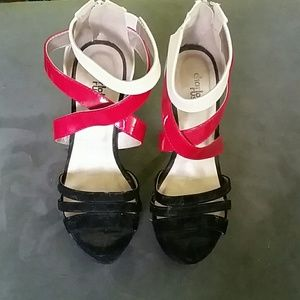 Shoes - Red, black and white strappy sandals