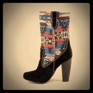 MIA Shoes - New MIA Festival Black Suede Heeled Boots 8.5