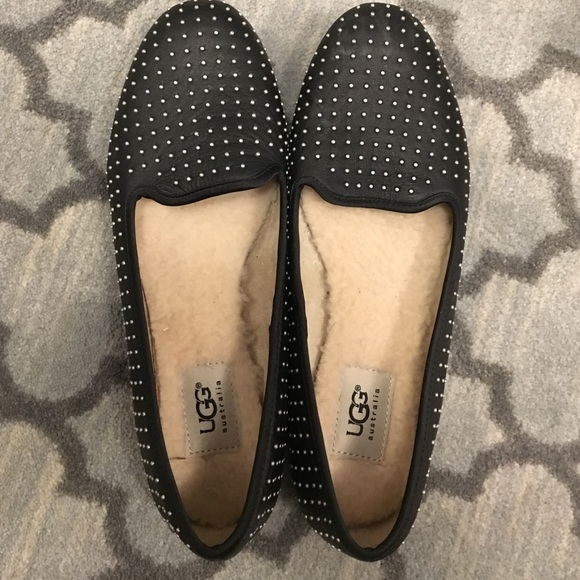 17312a70f32 Ugg Alloway Black Studded Flats Loafers 8