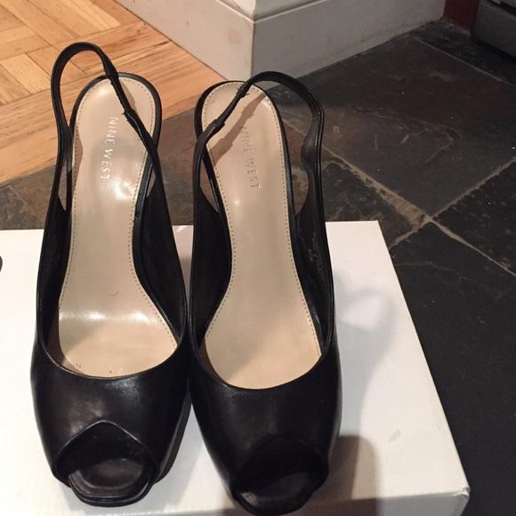 Nine West Black Peep Toe Slingbacks
