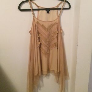 Rare Vintage Suede Detailed Woven Strap Tank