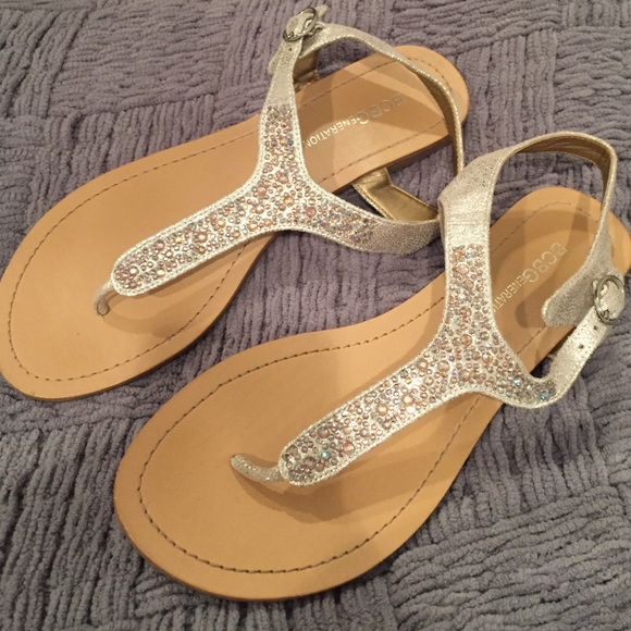 354e88bb3c055 BCBG Shoes - BCBG Silver Rhinestone Sandals