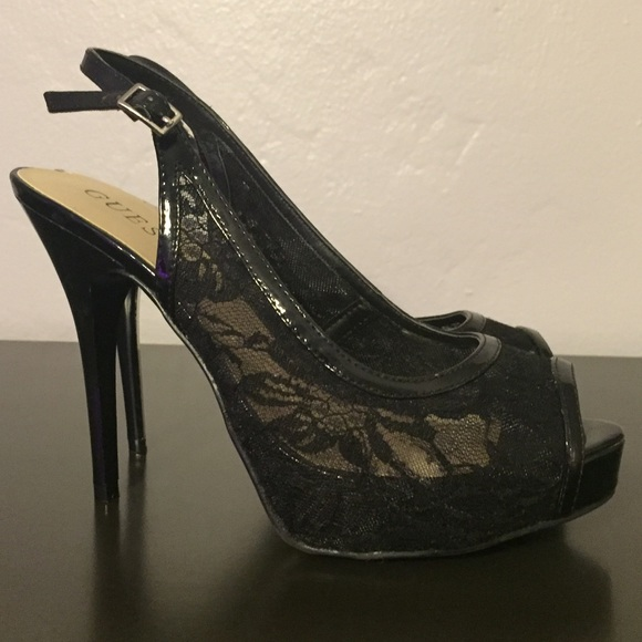 58 off guess shoes guess black lace high heels from erin no trades 39 s closet on poshmark. Black Bedroom Furniture Sets. Home Design Ideas