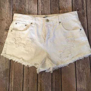 Forever 21 Pants - White denim high waisted shorts
