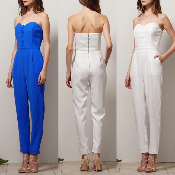 600cab619fe ADELYN RAE LACE UP DETAIL STRAPLESS JUMPSUIT