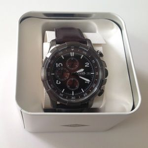 NEW IN BOX FOSSIL MEN WATCH LEATHER BROWN