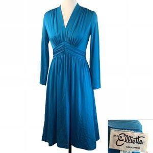 Vtg Miss Elliette Blue Slinky Disco Queen Dress