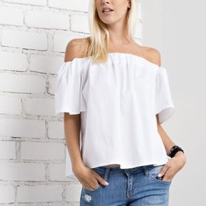 White Off the Shoulder Short Sleeve Poplin Top