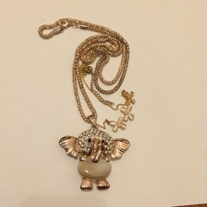 Layering elephant and butterfly necklace