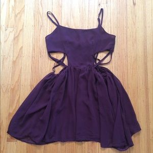 Burgundy dress with cross cut outs