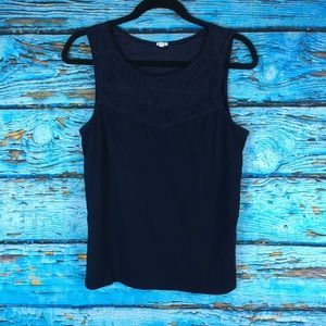 Navy J. Crew Tank Top with Lace bib detail