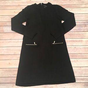 Tahari Black Short Long-Sleeve Dress