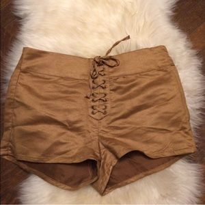 Suede tan lace up shorts