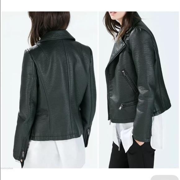 33% off Zara Jackets & Blazers - NWT Dark Green Zara Leather ...
