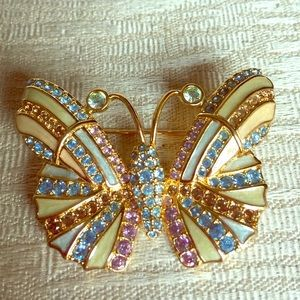Jewelry - Authentic Swarovski Crystal Butterfly Pin EUC