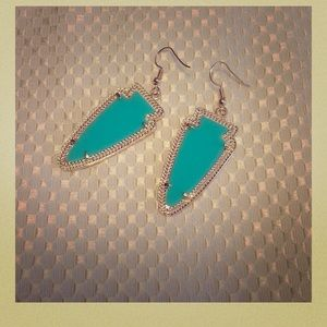 bjcich Jewelry - Turquoise/Gold Drop Earrings