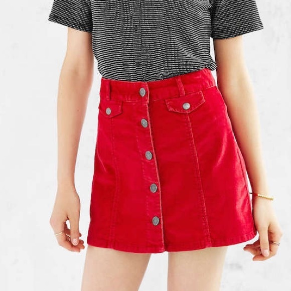 3bb19600b BDG Dresses & Skirts - BDG (UO) Bright Red Corduroy Skirt
