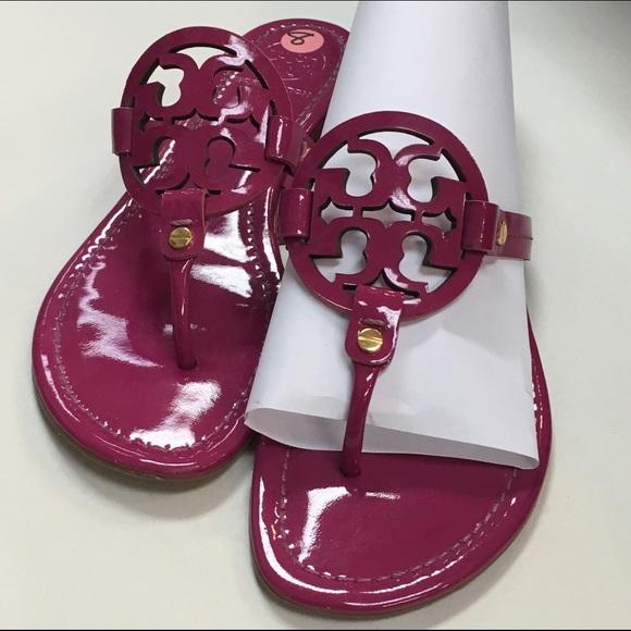 aa8a9893a84581 Tory Burch Miller Patent Sandals Hot Pink Fuschia.  M 5745d928522b450bf100533b