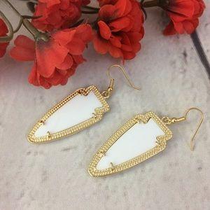 White & Gold Drop Earrings