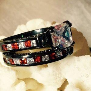 Jewelry - 10K Black Gold, White Topaz, Red Garnets, Ring Set