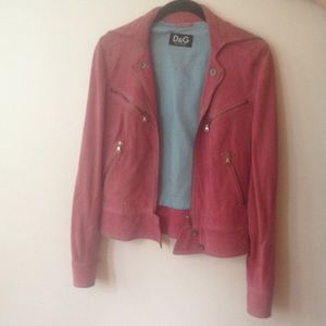 Dolce & Gabbana pink suede moto jacket