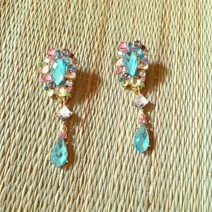  MULTI CRYSTAL DANGLE DROP EARRINGS