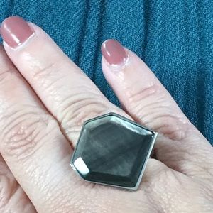 Stainless steel black mother of pearl ring