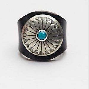 Free people leather turquoise ring red sands HTF