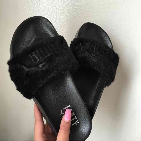 black puma fur slides