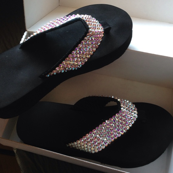 2cda85be8 Swarovski crystal authentic wedge flip flops. M 5745fe6b620ff7f623008e4d