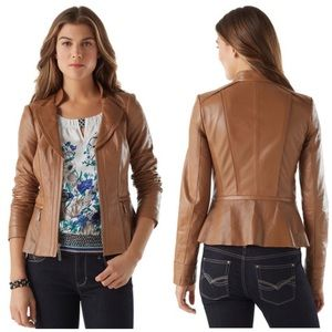 NWOT WHBM Genuine Leather Camel Moto Jacket