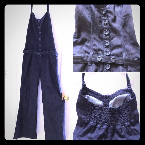 7a3c3d3bdd5 7 for all Mankind Pants - Denim halter jumpsuit w front buttons   belt