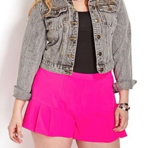 Hot Pink Pleated Shorts
