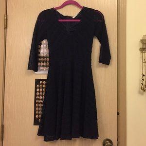 Lace navy long sleeved skater dress
