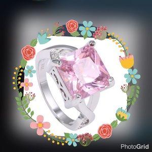 Elegant 925 Sterling Silver square pink CZ ring