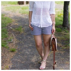 LOFT Pants - Ann Taylor Loft dark navy and white striped shorts