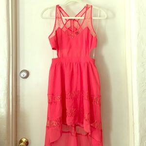Coral Flowy Lace High Low Summer Dress