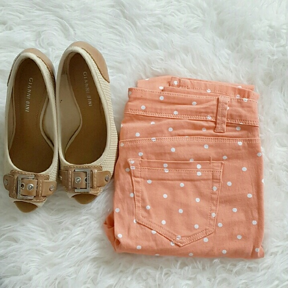 Pants - Soft Peach Pilka Dot Skinnies