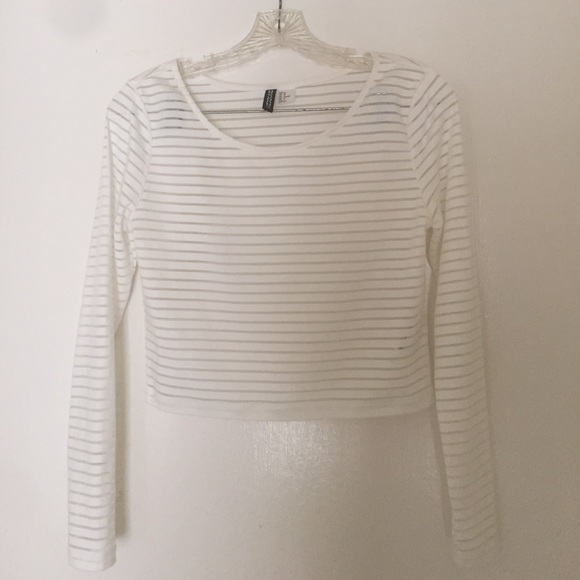06b4e3b9d6f071 H&M Tops | Hm White Long Sleeve See Through Crop Top | Poshmark