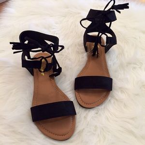 Boutique Shoes - Black Tassel & Ankle Tie Sandals