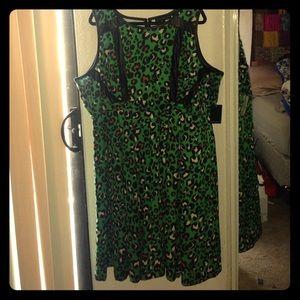 Size 24 Eloquii Green Leopard Dress