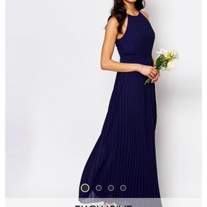 WEDDING High Neck Pleated Maxi Dress
