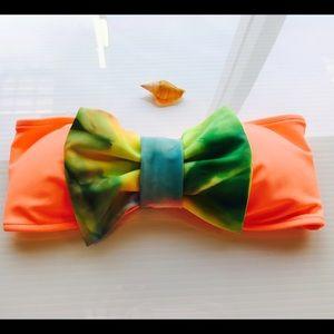 Lolli swim coral tie dye bow bikini top small new