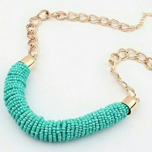NWT turquoise and gold fashion necklace